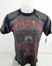Mens AFFLICTION Bird Crew Neck Shirt Grey Red Foil S M L XL 2XL 3XL A10367 NWT