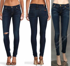 $198 NWT 7 SEVEN FOR ALL MANKIND JEANS THE SKINNY SECOND SKIN LEGGING MERCI BLUE