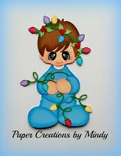 Craftecafe Mindy Christmas lights boy premade paper piecing for scrapbook page