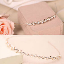Fashion Women Crystal Rhinestone Pearl Headband Hair Band Bridal Wedding