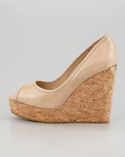 Jimmy Choo PAPINA Patent NUDE Sexy Open Toe Cork Wedges Shoes EU 40
