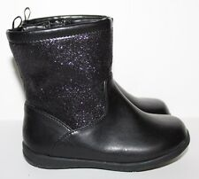 Faded Glory NWT Girl's Baby Toddler 5 Black Glitter Rain & Snow Boots