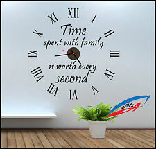 WALL STICKER CLOCK / WALL ART WITH TRUE MECHANISM CLOCK/ TIME SPENT WITH FAMILY