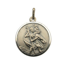 SOLID SILVER ANTIQUE FINISH 22MM ST CHRISTOPHER PENDANT CHAIN ENGRAVING OPTIONS