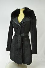 BEBE JACKET coat faux fur black 245199 belted
