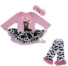 Baby Pink Cowgirl Boots Bodysuit Romper Tutu Leg Warmers Costume Party Dress