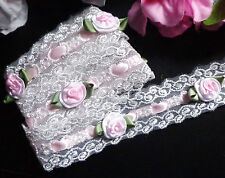 Embroidered Lace Beading, 1+1/4 inch wide with roses select length