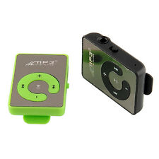 USB Mini Mirror Surface Clip Mp3 Sport With TF-Card Slot Black/Green New