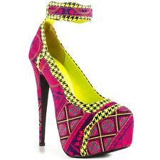 PENNY SUE MOROCCO HIGH PLATFORM PINK NEON YELLOW ANKLE STRAP PATTERN PUMPS
