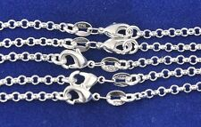 "new Wholesale 5Pcs 925 Sterling Silver 2mm Circle Rolo Chain Necklace 16""-30"""