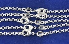 """Wholesale 5Pcs 925 Sterling Silver 2mm Circle Rolo Unisex Chain Necklace 16""""-30"""""""