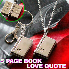 Unusual Rare Gift For Her Him Love Quote Book Necklace Keyring Valentine Xmas UK