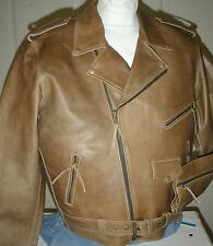 Distressed Tan Mens Leather Cowhide Traditional Motorcycle Biker Jacket Reg $199