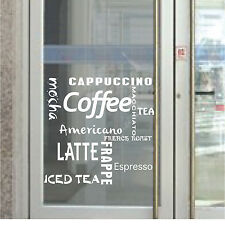 CAFE COFFEE SHOP SIGN WINDOW DECALS *BUY 2 GET 3rd FREE* - WHITE PRINT ON CLEAR
