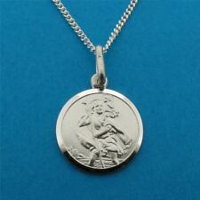 """SOLID STERLING SILVER 20MM SAINT ST CHRISTOPHER PENDANT 18"""" CHAIN WITH ENGRAVING"""
