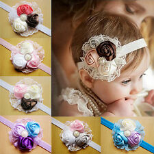 Baby Vintage Lace Flower Hairband Soft Elastic Headband Hair Accessories CATOP