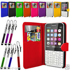 Leather Wallet Flip Mobile Phone Case Cover For Nokia 225
