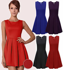 Plus Size Womens Tailored Pleated Textured Skater Dress Ladies Party Dress 8-20