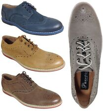 Parrazo Men Dress Shoes Real Leather Oxfords Wing Tip Lace up Rubber Sole J-2