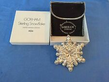 VINTAGE GORHAM LIMITED EDITION STERLING SILVER CHRISTMAS ORNAMENT SNOWFLAKE 1971