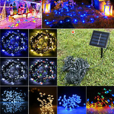 100/200 LED Solar Powered Panel Bright Fairy String Lights Trees Garden Party