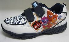 BOYS MOSHI MONSTER WILD LOW TOP CASUAL WHITE AND NAVY MONSTER PRINT TRAINERS
