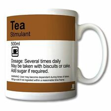 """TEA - Stimulant"" Funny prescription style MUG personalised fun gift mugs"