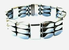 Men's SPORTSMAN SERIES Magnetic Hematite SILVER TRIPLE Bracelet 3 row FREE SHIP