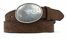 Nocona Western Belt Mens Embossed Leather Oval Buckle Brown N1011644
