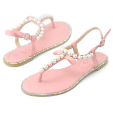New womens pink wedding pearl flat sandals beach casual gladiator shoes US 9