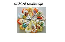 Mix Lot Of Ladies Handkerchiefs Printed On White Base Colourful