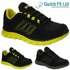MENS RUNNING BLACK TRAINERS CASUAL LACE UP RUNNING GYM WALKING SPORTS SHOES SIZE