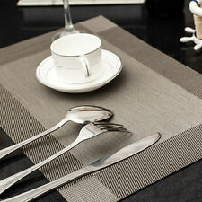 Set of 4 Vinyl Dining Table Place Mats Weave Woven Effect Modern Colours Black