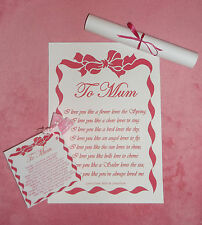 Mother's Day Birthday Gift Mum Grandma Etc I Love You Poem A4 Print Personalised
