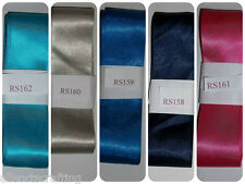 """3 metre Bundle of 1 1/2"""" 35mm wide Sewing Quality Double Satin Ribbon 5 Colours"""