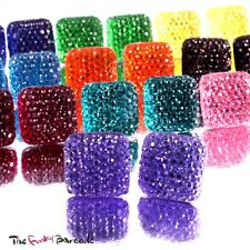 FUNKY SPARKLY SQUARE STUD EARRINGS GIRLS CUTE RETRO QUIRKY VINTAGE PROM CRYSTAL