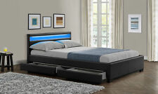 Double or King Size 4 Drawers Storage LED Colour Changing Leather Bed *STAR BUY*