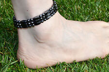 Men's Magnetic Hematite Bracelet Anklet Faceted 6mm rounds 3 row FREE SHIPPING