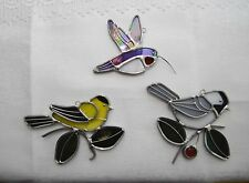 USA-Made Stained Glass Suncatcher Featuring Hummingbird, Chickadee, or Goldfinch