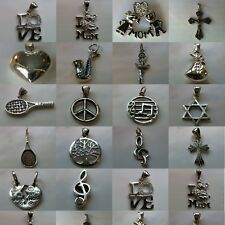 Theme Pendant Charm Dangles in Solid 925 Sterling Silver - Various Designs