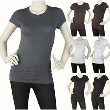 Womens Juniors Round Neck Short Sleeve Top Basic Casual Shirt  Stretch Comfy Tee