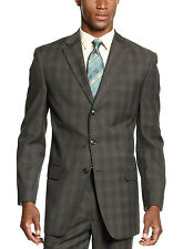 SEAN JOHN Blazer Dark Olive Brown Glen Plaid Sportcoat 3-Buttons $275