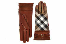 BURBERRY WOMEN'S LEATHER GLOVES NEW CHECK NICOLA BROWN  9D9