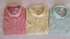 NWT LACOSTE Slim Fit 100% Cotton Garment Washed Casual Shirt S/S Mens 2 Colors