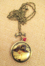 Vintage inspired Victorian woman with hat Pendant / locket / Necklace