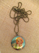 Pendant / locket necklace 1950's pin up girl,  swimming beauty, Rockabilly