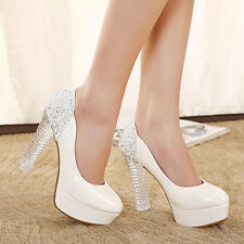 Sexy High Heels Princess Platform Crystal Heel Round Toe Wedding Shoes Sz White