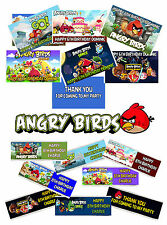 6 PERSONALISED ANGRY BIRDS CHOCOLATE BAR WRAPPERS. MIXED DESIGNS. BIRTHDAY PARTY