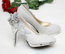 New Silver beautiful Vogue lace Flowers Crystal High Heels Wedding Bridal Shoes