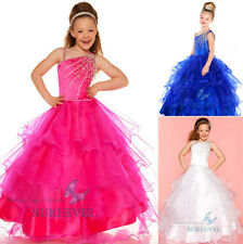 One shoulder Flower Girls dress Princess Pageant Wedding Birthday Party Dresses